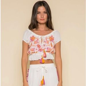 NWT Anthropologie Raga Embroidered Floral Crop Top